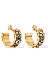Etro Gold Tone Crystal Hoop Earrings One Size