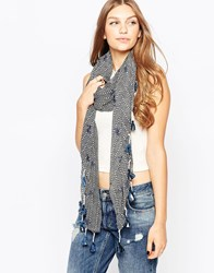 French Connection Printed Lightweight Scarf With Tassles Blkwhitespacific