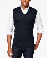 Club Room Big And Tall Merino Textured Argyle Vest Only At Macy's Navy Blue