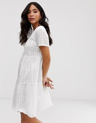 Pieces Broderie Smock Mini Dress White