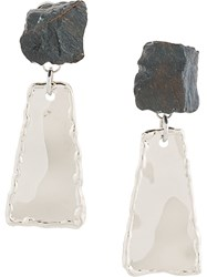 Proenza Schouler Small Hammered Dangle Earrings Metallic