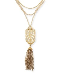 Lulu Frost Drift Crystal Tassel Necklace Gold