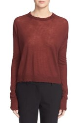 Helmut Lang Raw Edge Cashmere Crew Neck Sweater Red