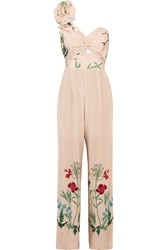 Johanna Ortiz Marmara One Shoulder Ruffled Printed Silk Jumpsuit Ivory