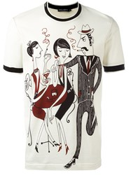 Dolce And Gabbana Jazz Club Print T Shirt Nude Neutrals