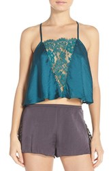 Women's Free People 'Jones Sensual' Lace Inset Camisole Teal