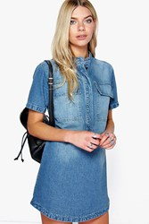 Boohoo Short Sleeve Utility Denim Shirt Dress Blue
