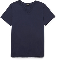 Hanro Mercerised Cotton Blend T Shirt Blue