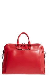 Lodis Brera Leather Briefcase Red