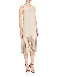 Theperfext Lucy Suede Fringe Hem Dress Oatmeal