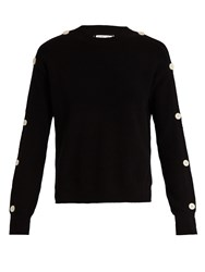 Helmut Lang Button Sleeve Cotton And Cashmere Blend Sweater Black