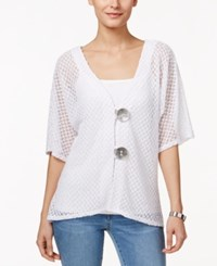 Jm Collection Short Sleeve Open Knit Cardigan Only At Macy's Bright White