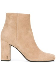 Saint Laurent 'Babies 90' Ankle Boots Nude Neutrals