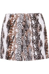 Equipment Lewis Snake Print Washed Silk Shorts Animal Print