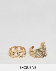 Designb London Wing And Chain Ring In 2 Pack Exclusive To Asos Gold