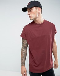 Asos Oversized T Shirt With Cut And Sew Seam And Chunky Rib Red