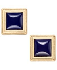 Inc International Concepts Gold Tone Framed Square Navy Stud Earrings Only At Macy's