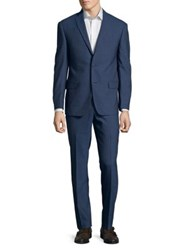 Michael Kors Two Piece Regular Fit Grid Wool Suit Dark Blue