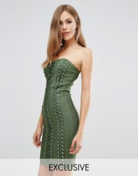 Wow Couture Bandage Sweetheart Dress With Lace Up Detail Dark Olive Green