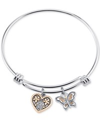 Unwritten Two Tone Butterfly And Heart Sisters Charm Bangle Bracelet Two Tone