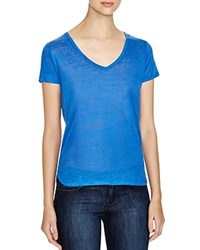 Majestic Linen Burnout V Neck Tee Monaco Blue