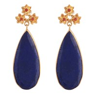 Carousel Jewels Lapis And Carnelian Drop Earrings Red Blue Gold