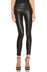Saint Laurent Leather Leggings In Black