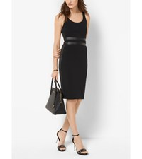 Faux Leather And Ponte Tank Dress Black