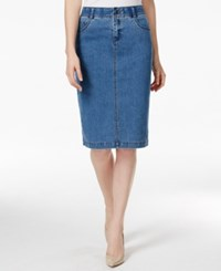 Charter Club Petite Antique Indigo Wash Denim Skirt Only At Macy's