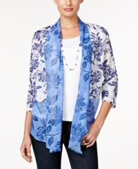 Alfred Dunner Petite Printed Layered Look Necklace Blouse Iris