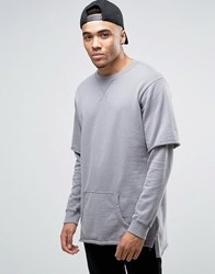 Pull And Bear Pullandbear Oversized Sweatshirt With Double Sleeve Layer In Grey Grey