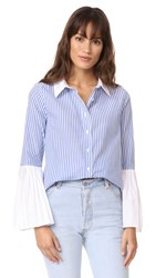 English Factory Pleated Sleeve Blouse Sapphire Stripe