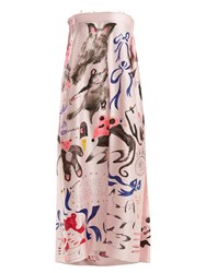 Claire Barrow Animal Print Strapless Silk Satin Dress Pink Multi