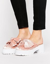 Asos October Chunky Bow Mules Pink Crushed Velvet