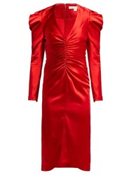 Jonathan Simkhai Puff Sleeve Ruched Satin Midi Dress Red