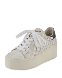 Ash Cult Metallic Leather Platform Sneaker Silver