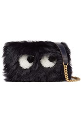 Anya Hindmarch Eyes Mini Leather Trimmed Shearling Shoulder Bag Navy