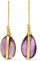 Pippa Small 18 Karat Gold Amethyst Earrings One Size