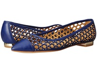 Enzo Angiolini Arabella Blue Leather Women's Dress Flat Shoes
