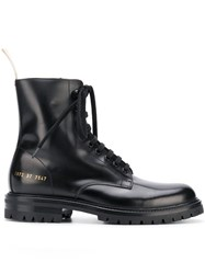 Common Projects Lace Up Military Style Boots Black