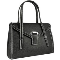 Buti Black Embossed Leather Satchel Bag