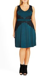 City Chic Plus Size Women's 'Lace Corset' Fit And Flare Dress Teal