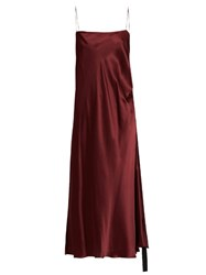 Ellery Tony Ruched Side Silk Satin Slip Dress Burgundy