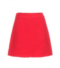 Victoria Beckham Teddy Wool Blend Miniskirt Red