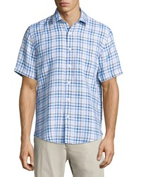 Neiman Marcus Linen Gingham Short Sleeve Shirt Soft Blue