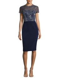 David Meister Beaded Cocktail Dress Navy