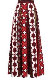 Valentino Pleated Printed Cotton And Linen Blend Maxi Skirt Burgundy