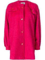 Gianfranco Ferre Vintage Collarless Shift Coat Pink And Purple