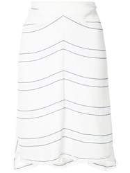 Proenza Schouler Striped Panel Skirt White