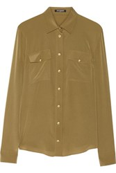 Balmain Silk Crepe De Chine Shirt Army Green
